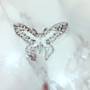 Silver Tone Butterfly Pin Brooch